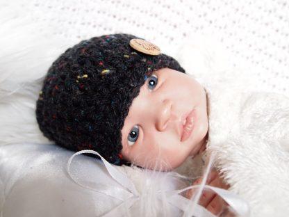 beanieklot-donkergrijs-tweed-gehaakt